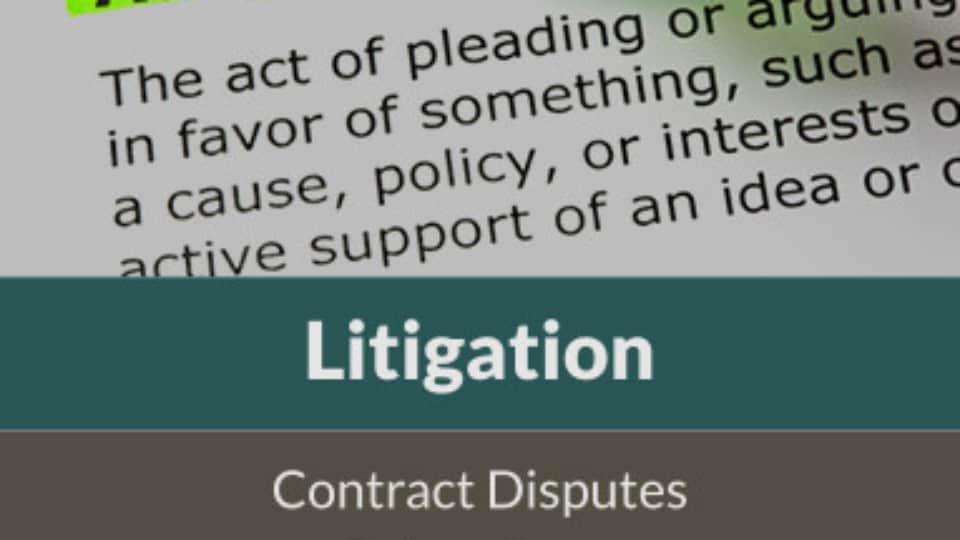 litigation, quiet title, contract disputes, injunctions, appeals