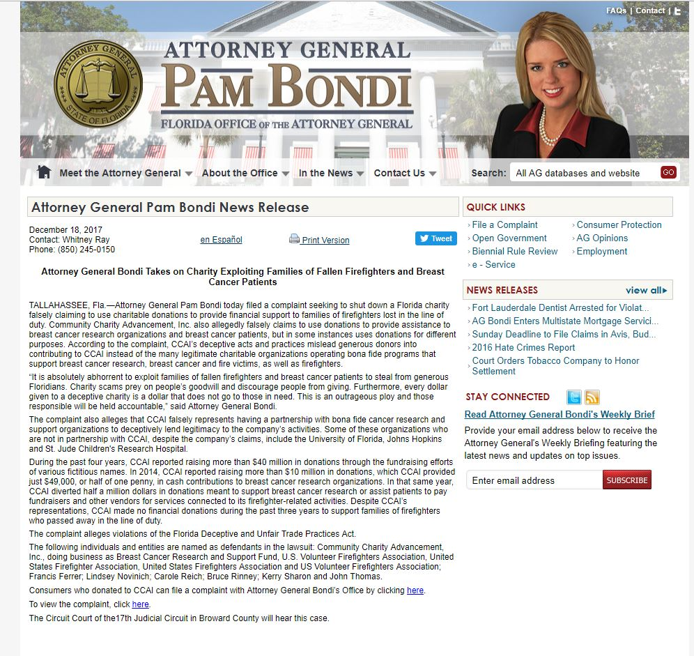 Weidner Sues Breast Cancer Research And Support Fund- Appeals Court Affirms Florida's Solicitation of Contributions Act